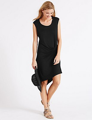 Side Knot Vest Dress, BLACK, catlanding