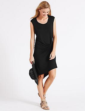 Side Knot Vest Dress, BLACK, catlanding