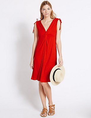 Knot Front Sleeveless Beach Dress, RED, catlanding