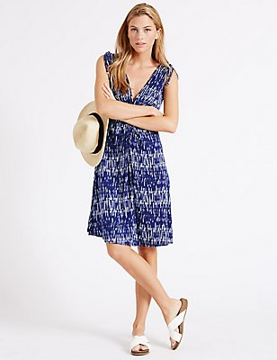 Knot Front Shard Print Vest Dress, BLUE MIX, catlanding