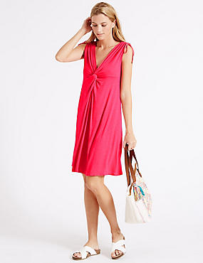 Knot Front Vest Dress with Trinket, VERY PINK, catlanding