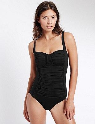 Secret Slimming™ Ruched Swimsuit, BLACK, catlanding