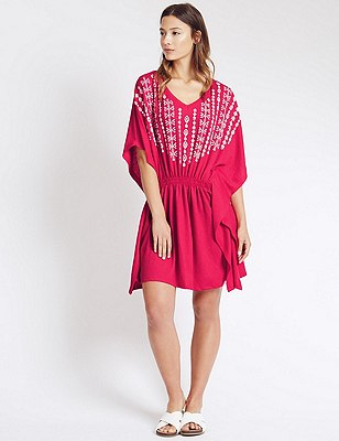 V-Neck Embroidered Kaftan, PINK MIX, catlanding