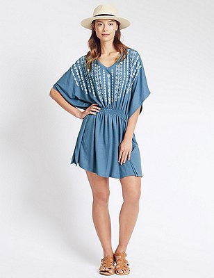 V-Neck Embroidered Kaftan, CHAMBRAY, catlanding