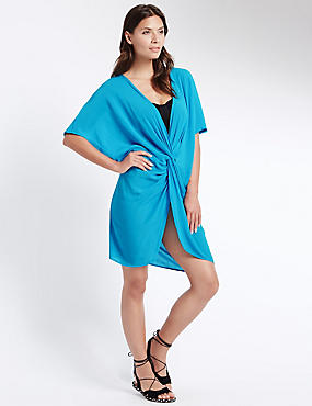Knot Front Kaftan with Cool Comfort™ Technology, BRIGHT TURQUOISE, catlanding