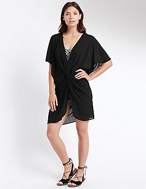 Knot Front Kaftan with Cool Comfort™ Technology, BLACK, catlanding