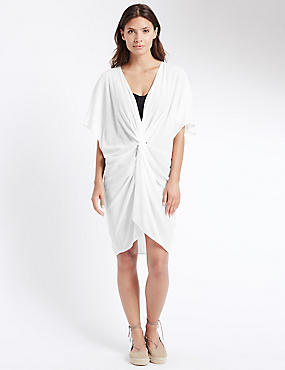 Knot Front Kaftan with Cool Comfort™ Technology, WHITE, catlanding