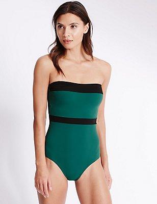 Swimsculpt™ Bandeau Swimsuit, GREEN, catlanding