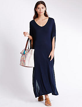 Angel Sleeve Jersey Midi Dress, NAVY, catlanding