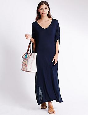Midi-jurk van jersey met vleermuismouwen, MARINE, catlanding