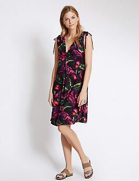 Floral Print Sleeveless Beach Dress, WINE MIX, catlanding