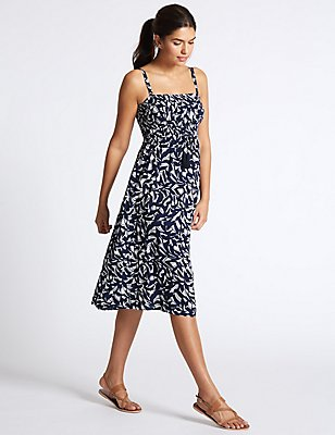 Shirred Printed Midi Dress, BLUE MIX, catlanding