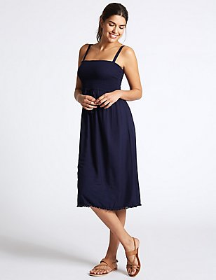 Shirred Midi Dress, DARK MIDNIGHT, catlanding