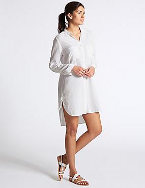 Pure Cotton Dipped Hem Shirt Dress, WHITE, catlanding
