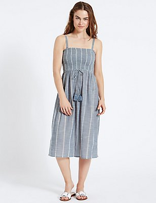 Pure Cotton Shirred Midi Dress, BLUE MIX, catlanding