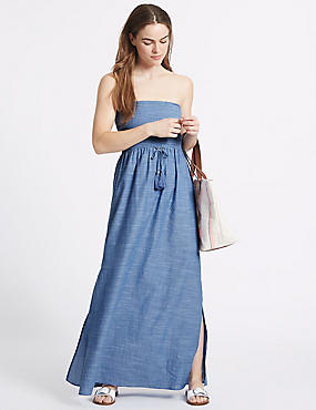 Pure Cotton Shirred Maxi Dress, CHAMBRAY, catlanding