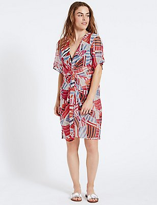 Printed Knot Front Kaftan, RED MIX, catlanding