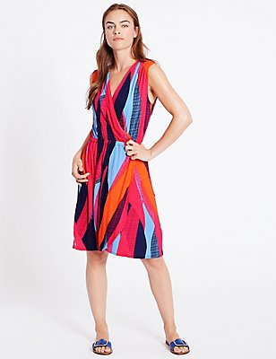 Colour Block Wrap Beach Dress, PINK MIX, catlanding