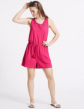Pure Cotton Applique Playsuit, VERY PINK, catlanding