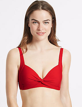 Haut de bikini plongeant à motif torsadé, ROUGE, catlanding
