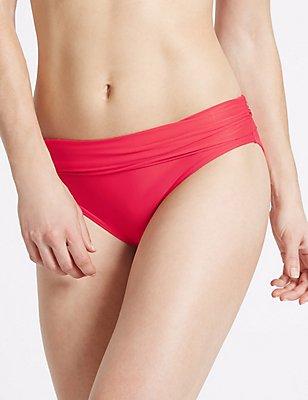 Roll Top Hipster Bikini Bottoms, PINK, catlanding