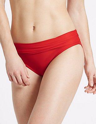 Roll Top Hipster Bikini Bottoms, RED, catlanding