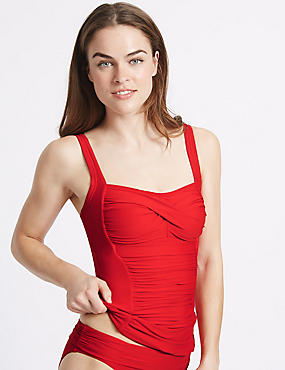 Twisted Ruched Tankini Top, RED, catlanding