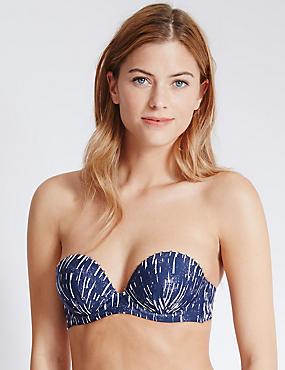 Shard Print Push-up Bikini Top, NAVY MIX, catlanding