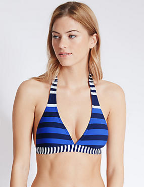 Striped Triangle Bikini Top, BLUE MIX, catlanding