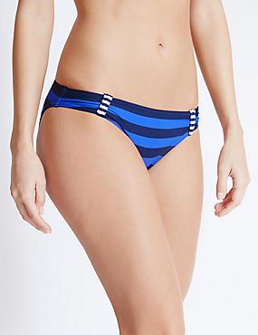 Striped Hipster Bikini Bottoms, BLUE MIX, catlanding