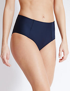 High Waist Bikini Bottoms, NAVY, catlanding