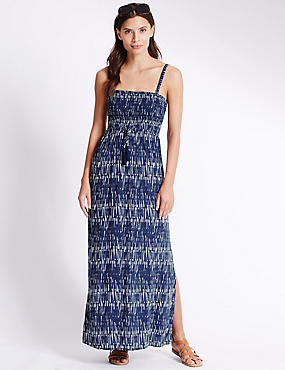 Shard Print Maxi Dress, NAVY MIX, catlanding