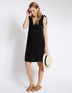 Knot Front Sleeveless Beach Dress, BLACK, catlanding
