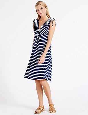 Striped Knot Front Vest Dress, BLUE MIX, catlanding