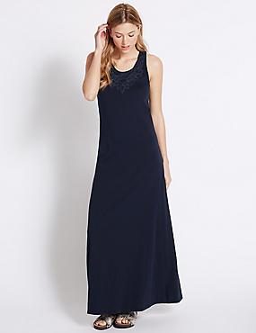 Pure Cotton Jersey Applique Maxi Dress, NAVY, catlanding