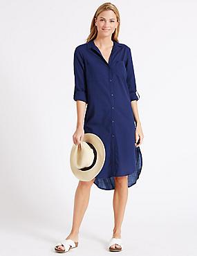 Robe-chemise 100% coton à ourlet plongeant, BLEU MARINE, catlanding