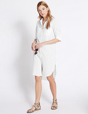 Robe-chemise 100% coton à ourlet plongeant, BLANC, catlanding