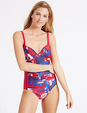 Secret Slimming™ Twisted Plunge Swimsuit, PINK MIX, catlanding