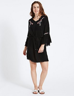 Embroidered Kaftan, BLACK MIX, catlanding