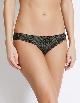 Animal Print Hipster Bikini Bottoms, KHAKI MIX, catlanding