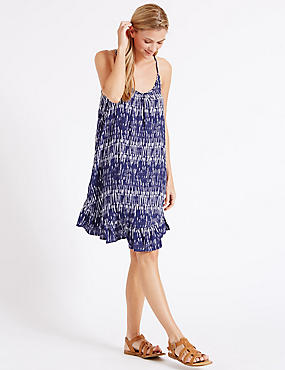 Shard Print Frill Vest Dress, NAVY MIX, catlanding