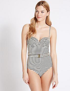 Secret Slimming™ Striped Swimsuit, BLACK MIX, catlanding