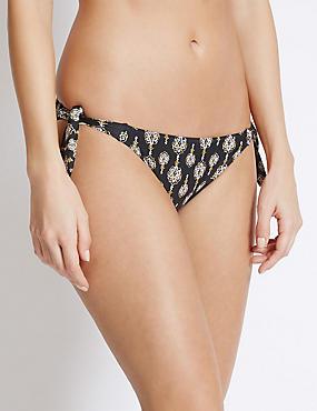 Parte de abajo de bikini hípster con estampado de fular, MEZCLA DE TONOS NEGROS, catlanding