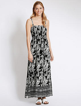 Palm Tree Print Maxi Dress, BLACK MIX, catlanding