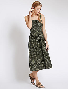Animal Print Midi Dress, KHAKI MIX, catlanding