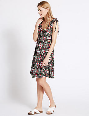 Printed Sleeveless Beach Dress, BLACK MIX, catlanding
