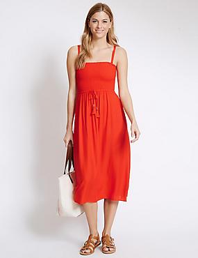 Shirred Detail Midi Beach Dress, ORANGE, catlanding