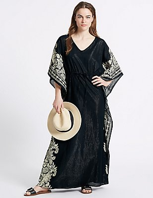 Cotton Rich Printed Kaftan, BLACK MIX, catlanding