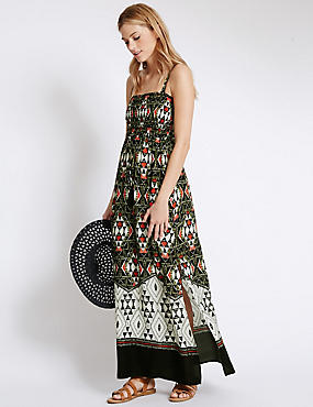 Tribal Print Maxi Dress, BLACK MIX, catlanding