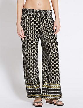 Foulard Print Wide Leg Trousers, BLACK MIX, catlanding